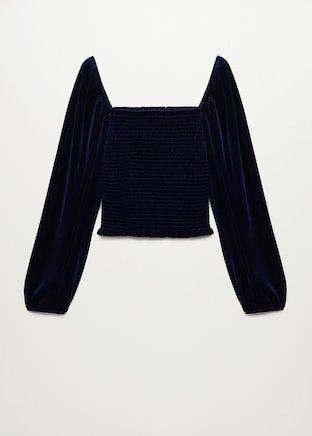 Velvet blouse with elastic panel - Woman   Mango South Korea
