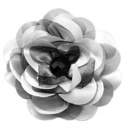 black and white flower hair accessory