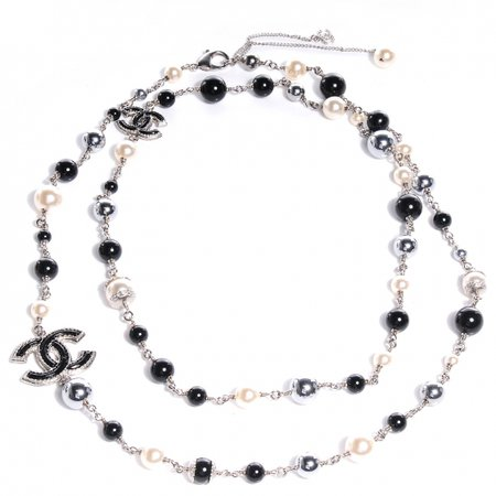 CHANEL Pearl Beaded CC Long Necklace Black 81817