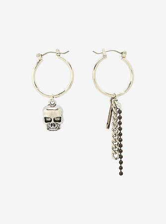Skull Chain Mismatch Hoop Earrings