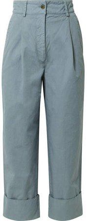 Phaedra Cropped Cotton-twill Straight-leg Pants - Gray green
