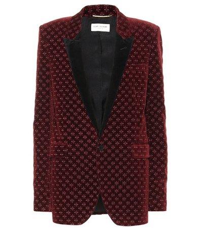 Star embroidered velvet blazer