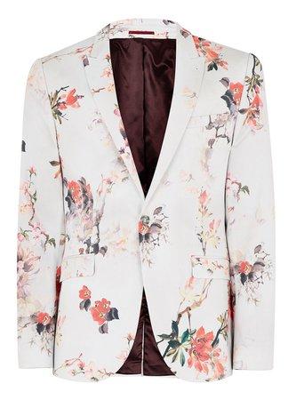 TopMan White Floral Super Skinny Suit Jacket $60.00