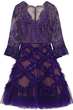 Flared Appliqued Tulle And Lace Dress