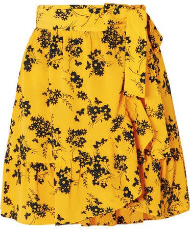 Ruffled Floral-print Crepe Wrap Mini Skirt - Yellow