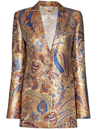 Paco Rabanne Metallic paisley-print Blazer Jacket - Farfetch