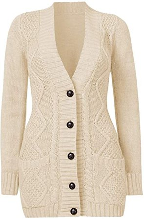 luvamia Womens Long Sleeve Open Front Buttons Cable Knit Pocket Sweater Cardigan at Amazon Women's Clothing store