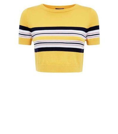 Yellow Stripe Cropped T-Shirt | New Look