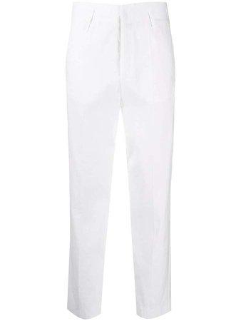 high-waisted straight-leg trousers