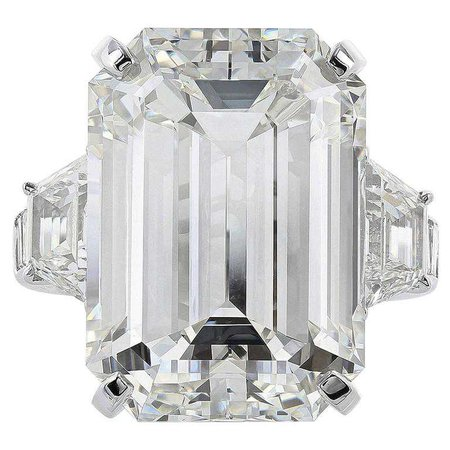 22.02 Carat Emerald Cut Diamond Platinum Three Stone Engagement Ring For Sale at 1stdibs
