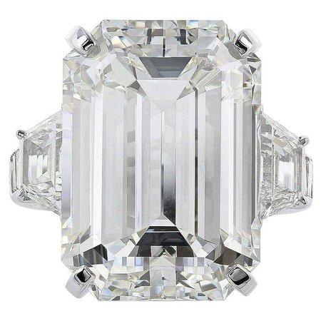 22.02 Carat Emerald Cut Diamond Platinum Three Stone Engagement Ring For Sale at 1stdibs