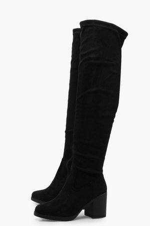Chunky Over the Knee Boots   Boohoo UK