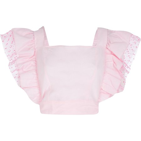 Pink square neck frill top | River Island
