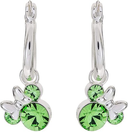 Amazon.com: Disney Minnie Mouse Silver Plate Brass Crystal Birthstone Hoop Earrings: August