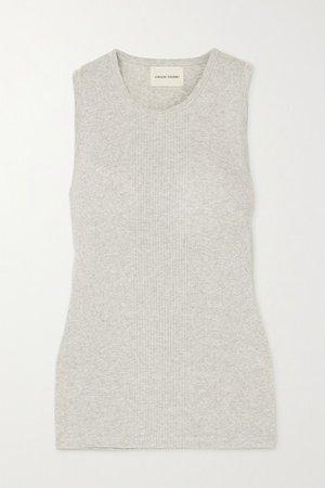 Fatu Ribbed Melange Cotton Tank - Gray