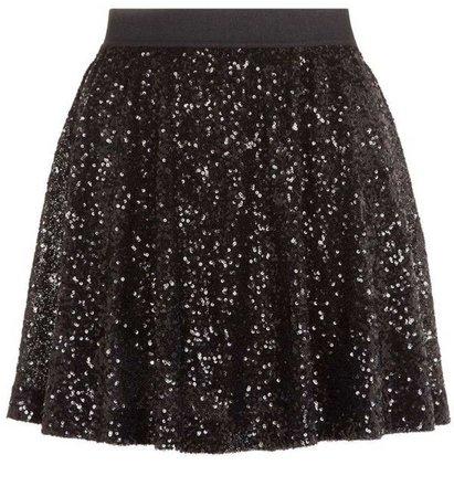 Black Sequin Skater Skirt