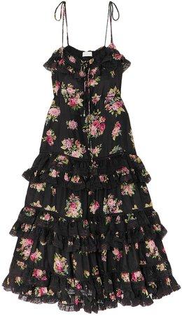 Honour Tiered Floral-print Silk Crepe De Chine Midi Dress
