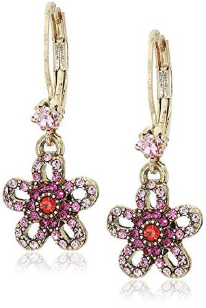 Betsey Johnson Women's Crystal Flower Drop Earrings, Pink, One Size: Jewelry