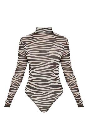 Cream Zebra Printed Mesh Bodysuit | Tops | PrettyLittleThing