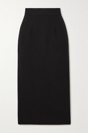Black Wool-blend crepe midi skirt | Dolce & Gabbana | NET-A-PORTER