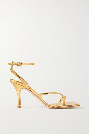 Delta Metallic Leather Sandals - Gold