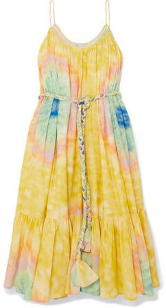 Rhode Resort - Lea Belted Tie-dyed Cotton-voile Midi Dress - Yellow