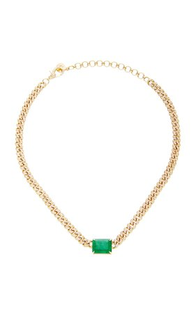 18K Yellow Gold Mini Pave Link with Emerald Center by Shay | Moda Operandi