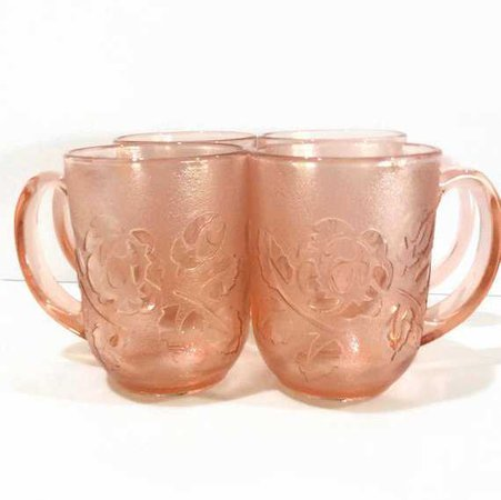 Pink Glass Mugs Arcoroc France Blush Pink Glass Barware Rosa