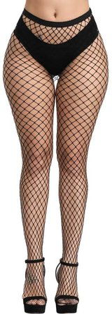 *clipped by @luci-her* WEANMIX Fishnet Stockings Thigh High Stockings Pantyhose High Waist Tights for Women (Black - Big Hole) at Amazon Women's Clothing store