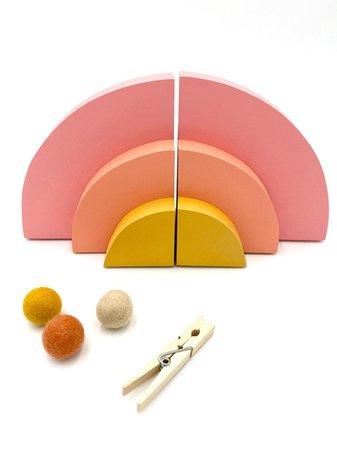 Rainbow Bookends Desert Sun Bookends Bohemian Baby Nursery | Etsy