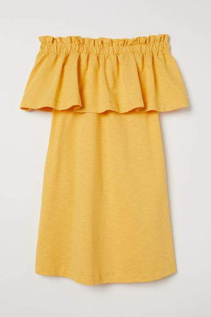 Off-the-shoulder Dress - Yellow