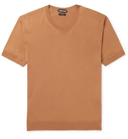 Tom Ford Knitted Silk T-Shirt Brown