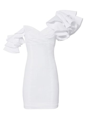 white ruffle dress 80s sleeve puffy