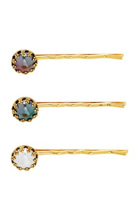 Brinker & Eliza Set-Of-Three Gold-Tone Faux-Pearl Hair Pins