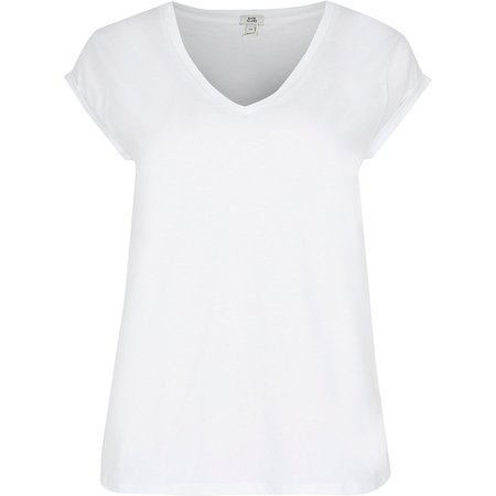 White v neck short sleeve t-shirt | River Island