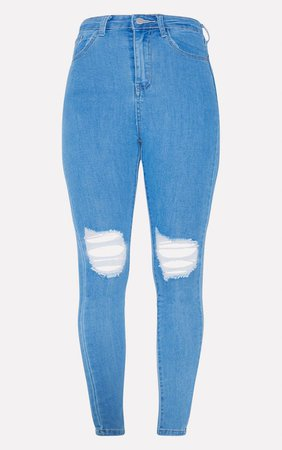 Plt Black 5 Pocket Knee Rip Skinny Jean   PrettyLittleThing USA
