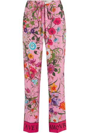 Gucci | Printed silk crepe de chine wide-leg pants | NET-A-PORTER.COM