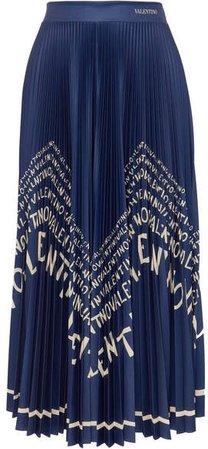 Printed Pleated Satin Midi Skirt - Blue