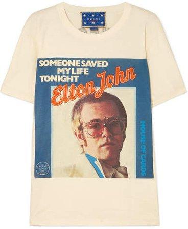 Elton John Printed Cotton-jersey T-shirt - Off-white