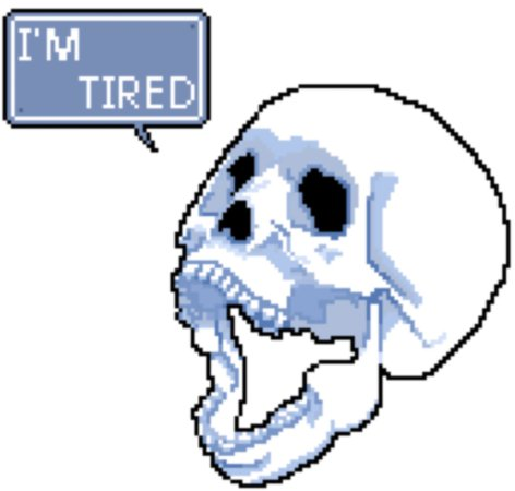 I'm tired skull blue versio