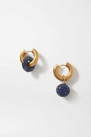 Navy Gold-tone crystal earrings   Timeless Pearly   NET-A-PORTER