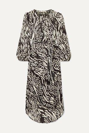 Mavis Animal-print Silk-chiffon Midi Dress - Black