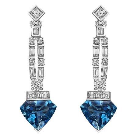 Raymond C. Yard Aquamarine and Diamond Pendant Earrings For Sale at 1stDibs