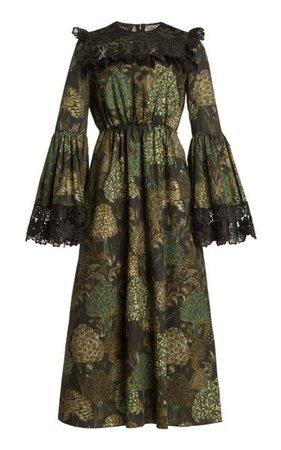 Lace-Trimmed Floral Cotton Midi Dress By Giambattista Valli | Moda Operandi