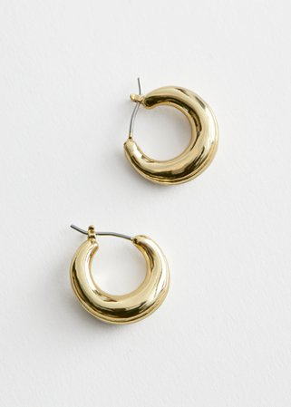 Chunky Mini Hoop Earrings - Gold - Hoops - & Other Stories