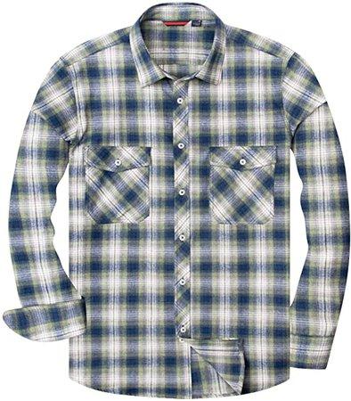 Amazon.com: Alimens & Gentle Men's Button Down Regular Fit Long Sleeve Plaid Flannel Casual Shirts - Color: Multicoloured, Size: Medium: Clothing