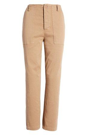 BP. High Waist Straight Leg Stretch Twill Ankle Pants tan