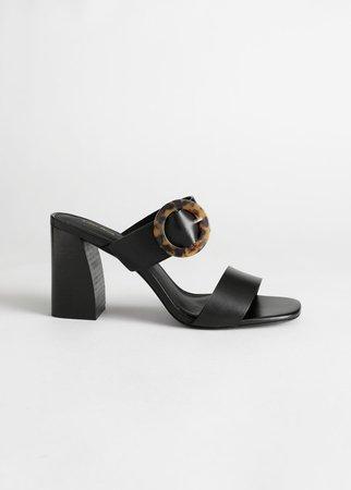 Tortoise Buckle Leather Heeled Sandals