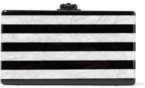 Jean Striped Marble-effect Acrylic Box Clutch