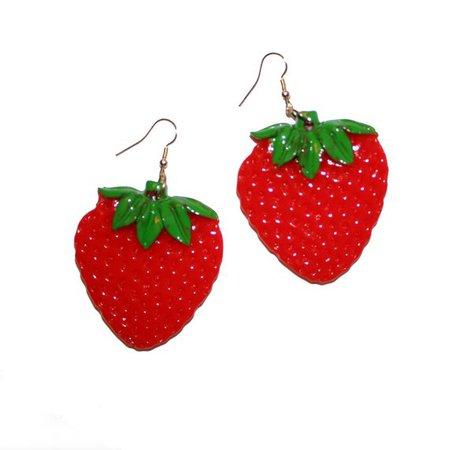 Huge Strawberry Earrings Fruit Earrings Tropical Hawaii | Etsy